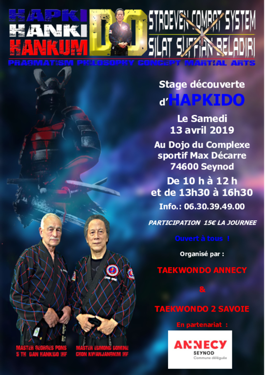 Stage Hapkido  Annecy  le 13 avril 2019